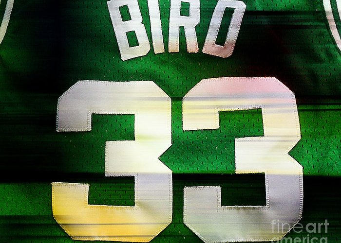 Bird Paintings Greeting Card featuring the mixed media Larry Bird by Marvin Blaine