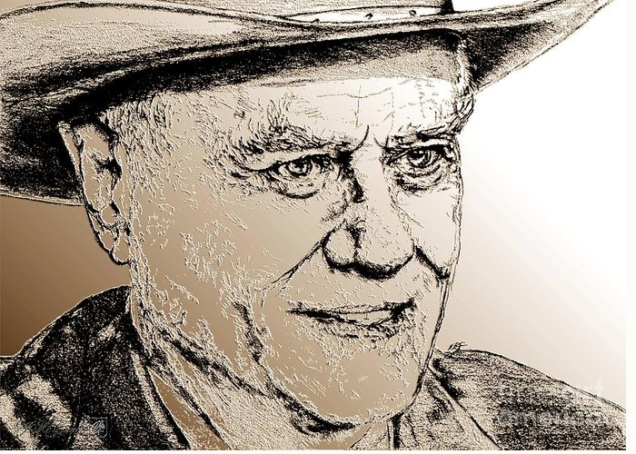 Larry Hagman Greeting Card featuring the digital art Larry Hagman In 2011 by J McCombie