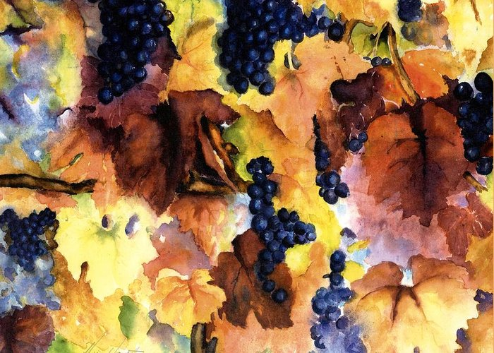 Grapes On The Vine Greeting Card featuring the painting Late Harvest 3 by Maria Hunt