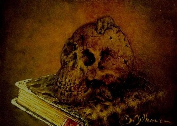 The Book Of The Dead Greeting Card featuring the painting Le Livre Des Morts by Guillaume Bruno