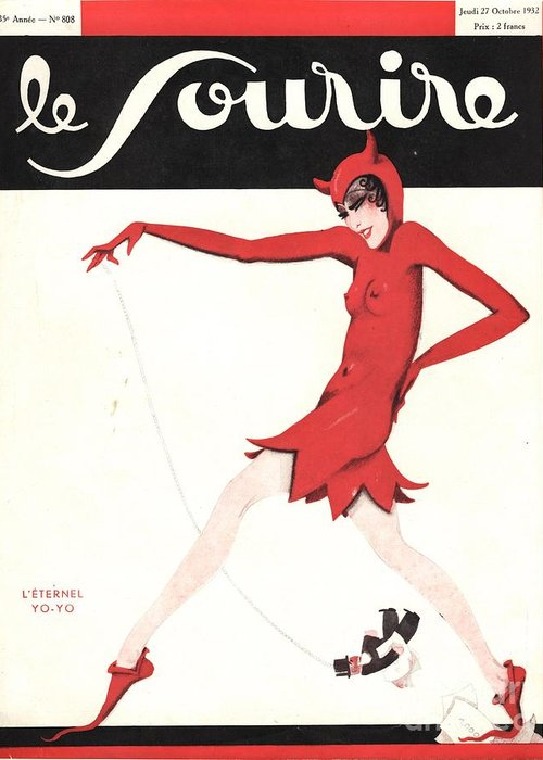 1930�s Greeting Card featuring the drawing Le Sourire 1930s France Glamour by The Advertising Archives