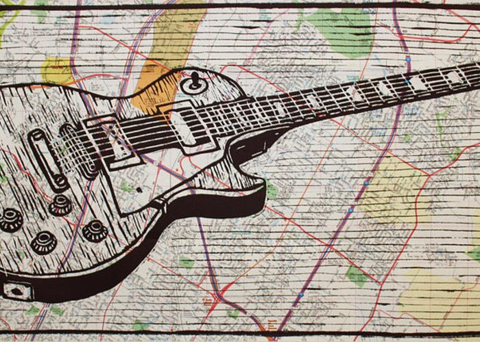 Les Paul Greeting Card featuring the drawing Les Paul On Austin Map by William Cauthern