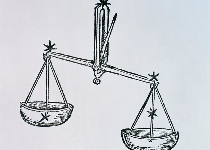 Libra Greeting Card featuring the drawing Libra by Italian School