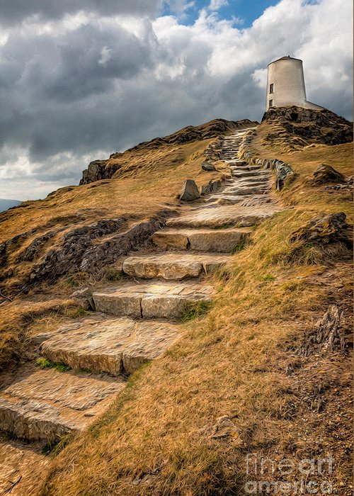 Anglesey Greeting Card featuring the photograph Lighthouse Steps by Adrian Evans