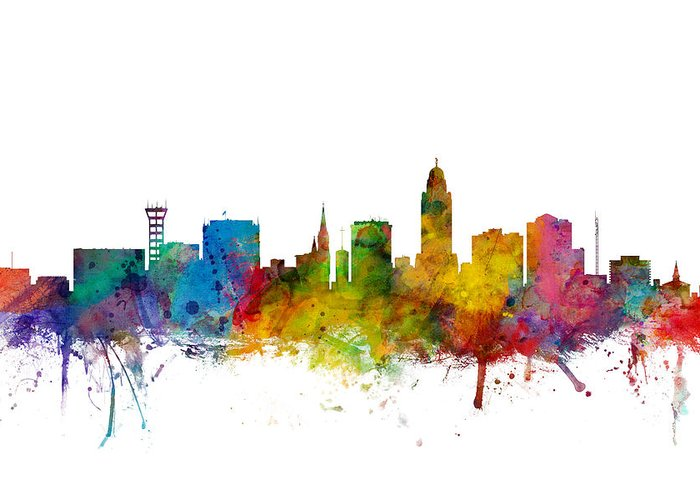 City Greeting Card featuring the digital art Lincoln Nebraska Skyline 1 by Michael Tompsett