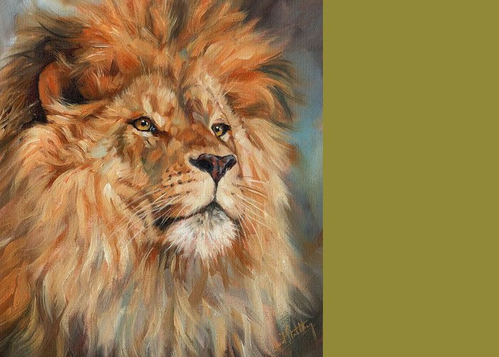 Lion Greeting Card featuring the painting Lion by David Stribbling