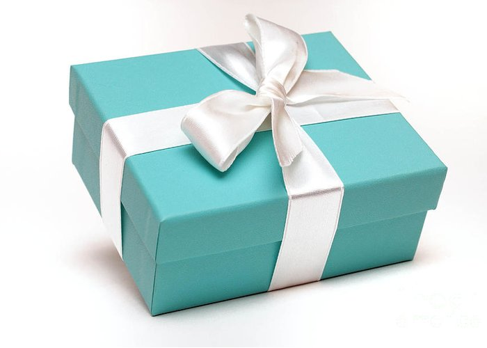 Anniversary Greeting Card featuring the photograph Little Blue Gift Box by Amy Cicconi