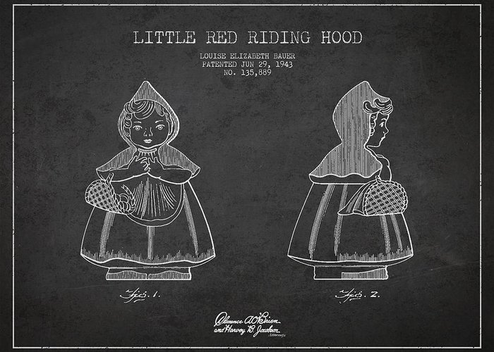 Little Red Riding Hood Greeting Card featuring the digital art Little Red Riding Hood Patent Drawing From 1943 by Aged Pixel