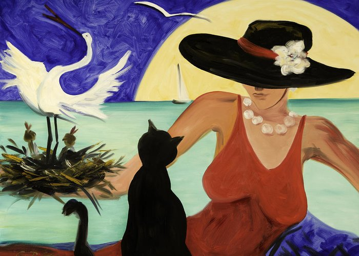 Colorful Art Greeting Card featuring the painting Living The Dream by Gina De Gorna