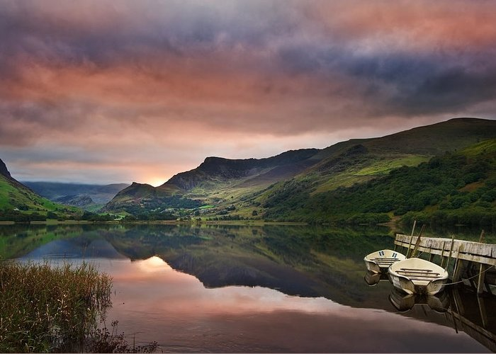Landscape Greeting Card featuring the photograph Llyn Nantlle At Sunrise Looking Towards Mist Shrouded Mount Snow by Matthew Gibson