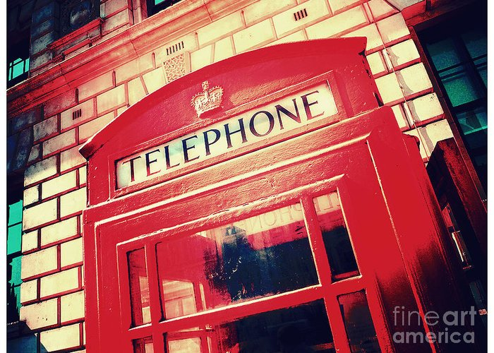 London Greeting Card featuring the photograph London Phone Booth by Cheryl Gerhard