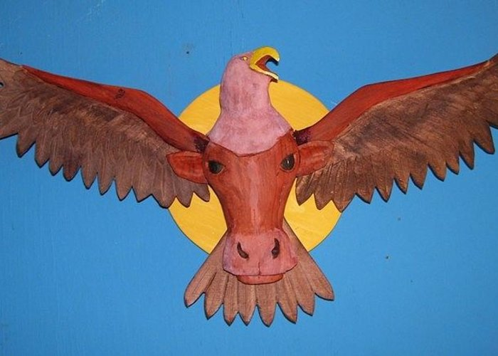 Eagle Greeting Card featuring the sculpture Longhorn Eagle by Michael Pasko