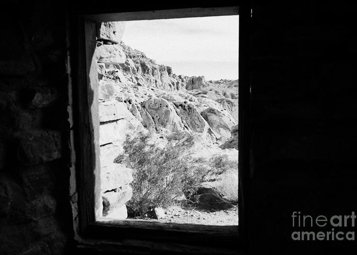 Valley Greeting Card featuring the photograph Looking Out Through Window From Interior Of Historic Stone Cabin Built By The Civilian Conservation by Joe Fox