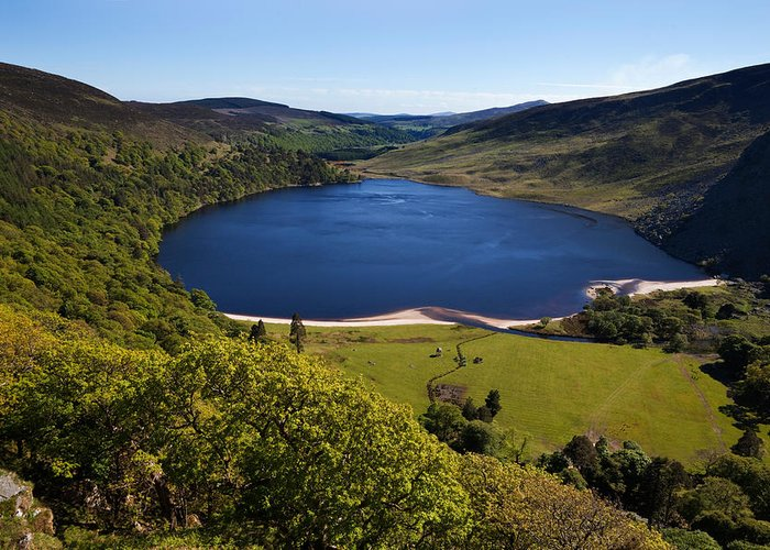 Photography Greeting Card featuring the photograph Lough Tay Below Luggala Mountain by Panoramic Images