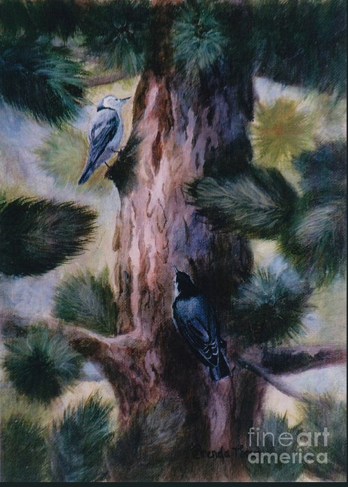 Bird Greeting Card featuring the painting Love At First Sight by Brenda Thour