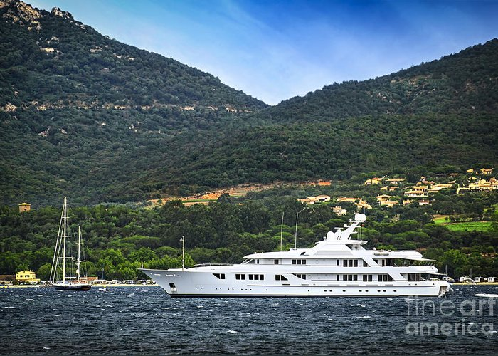 Yacht Greeting Card featuring the photograph Luxury Yacht At The Coast Of French Riviera by Elena Elisseeva