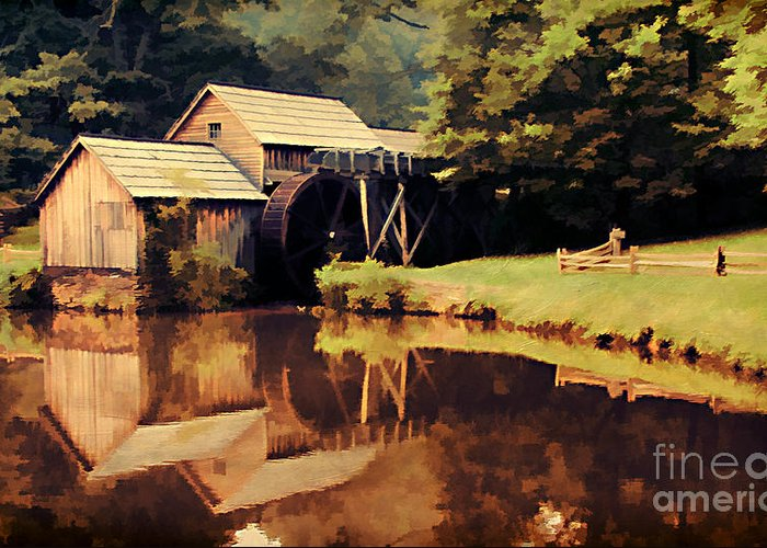 Antique Greeting Card featuring the photograph Mabrys Mill by Darren Fisher