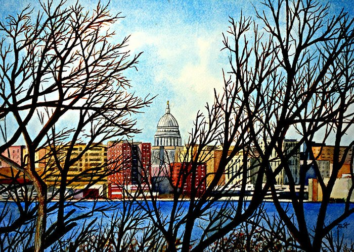Wisconsin Greeting Card featuring the painting Madison Treed by Thomas Kuchenbecker