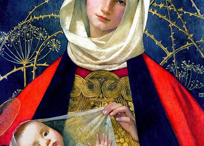 Madonna And Child Greeting Card featuring the painting Madonna And Child by Marianne Stokes