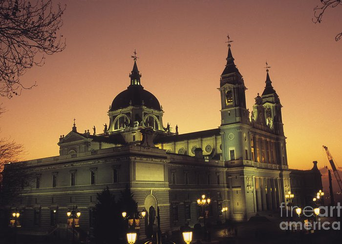 Madrid Greeting Card featuring the photograph Madrid Cathedral Sunset by James Brunker