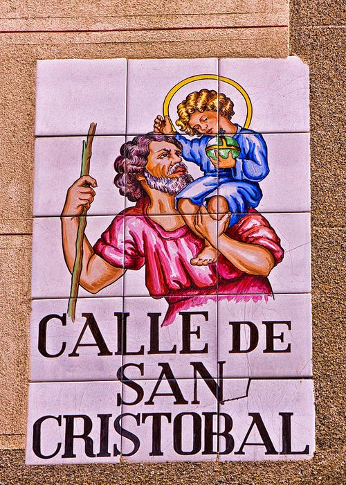 Calle De San Cristobal Greeting Card featuring the photograph Madrid Street Sign by David Pringle