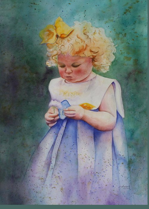 Child Greeting Card featuring the painting Maggie's Dandelion by Patsy Sharpe