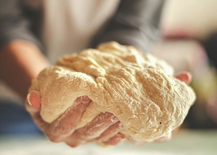 Kneading Greeting Card featuring the photograph Making Yeast Dough by Nimis69
