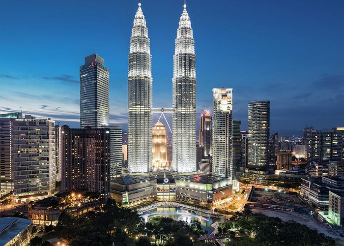 Downtown District Greeting Card featuring the photograph Malaysia, Kuala Lumpur, Petronas Towers by Martin Puddy