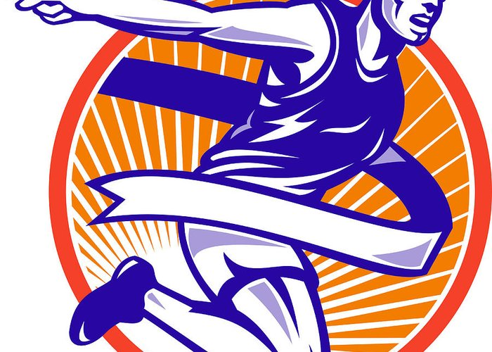 Marathon Greeting Card featuring the digital art Male Marathon Runner Running Retro Woodcut by Aloysius Patrimonio