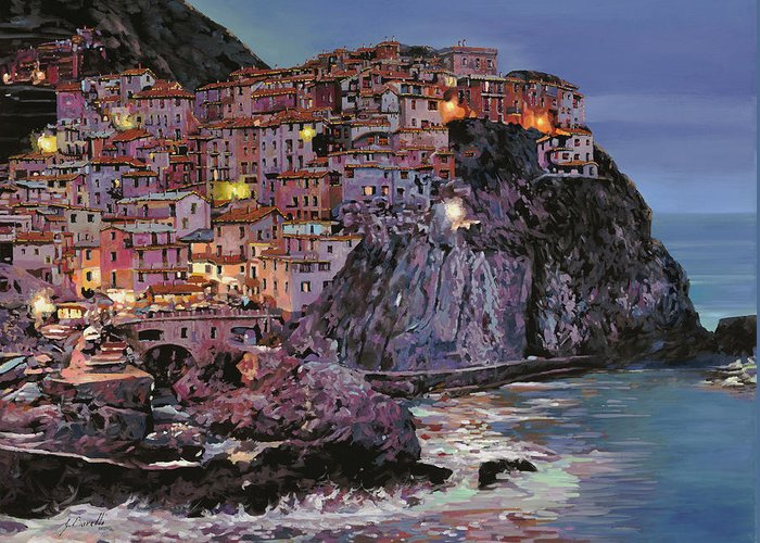 Manarola Greeting Card featuring the painting Manarola al crepuscolo by Guido Borelli
