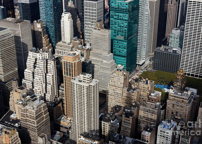Aerial Greeting Card featuring the photograph Manhattan Bryant Park by Jannis Werner