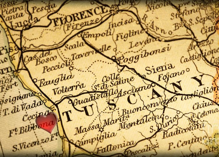 Tuscany Italy Map Of Area.Map Of Florence Tuscany Italy Europe In A Antique Distressed Vin Greeting Card