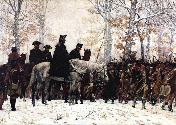 Pd Greeting Card featuring the painting March To Valley Forge by Pg Reproductions