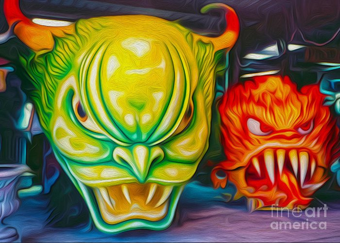 Mardi Gras Greeting Card featuring the photograph Mardi Gras Devils by Gregory Dyer