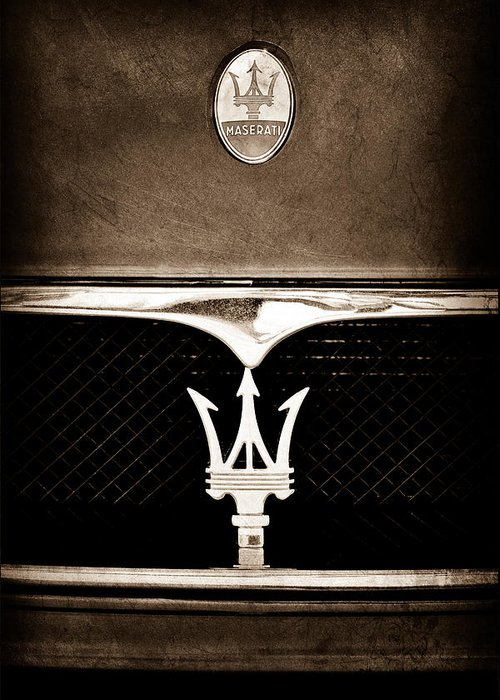 Maserati Hood Emblem Greeting Card featuring the photograph Maserati Hood - Grille Emblems by Jill Reger