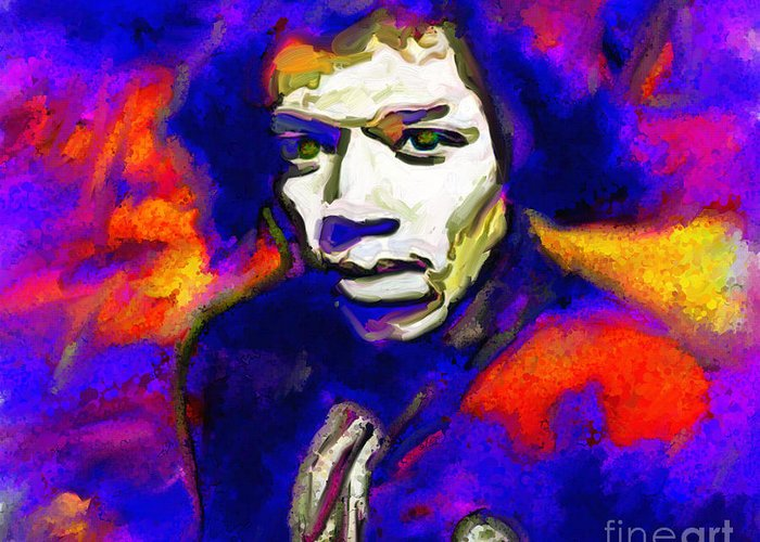 Greeting Card featuring the digital art Max Cooper-jimi Hendrix by Max Cooper