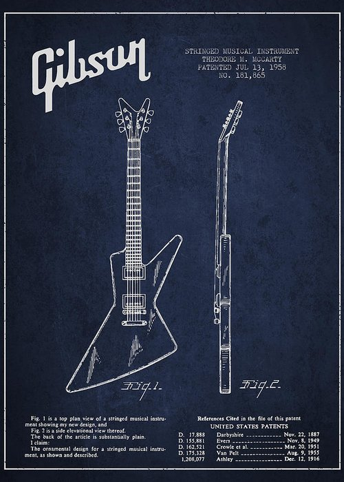 Gibson Greeting Card featuring the digital art Mccarty Gibson Electrical Guitar Patent Drawing From 1958 - Navy Blue by Aged Pixel
