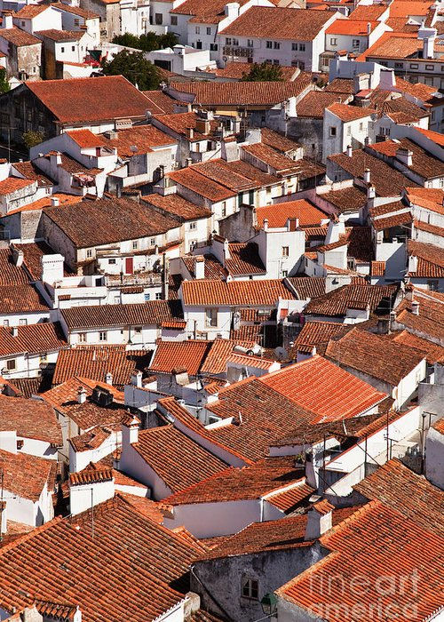 Cityscape Greeting Card featuring the photograph Medieval Town Rooftops by Jose Elias - Sofia Pereira