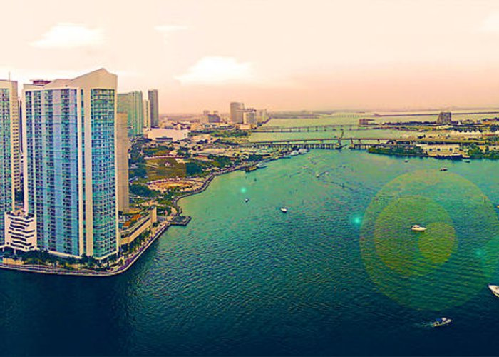 Panorama Greeting Card featuring the photograph 1 Miami by Michael Guirguis
