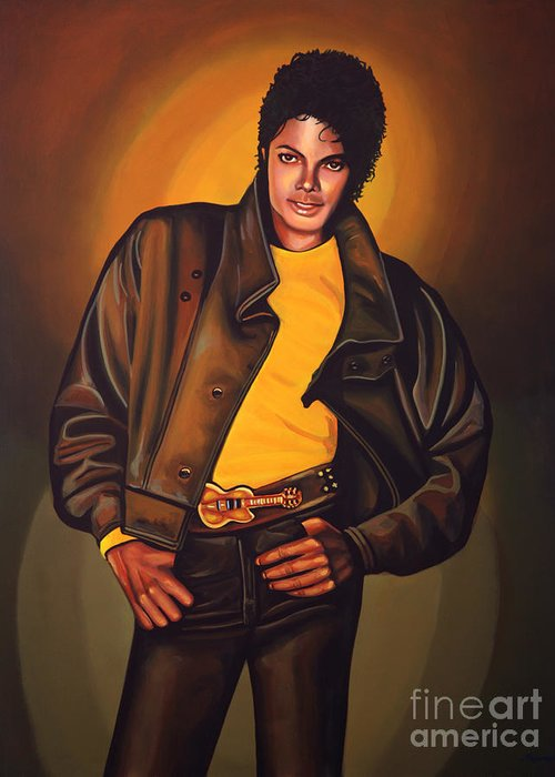 Michael Jackson Greeting Card featuring the painting Michael Jackson by Paul Meijering