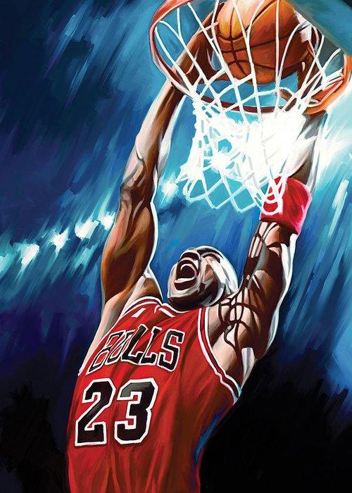 Nba Greeting Card featuring the painting Michael Jordan Artwork by Sheraz A