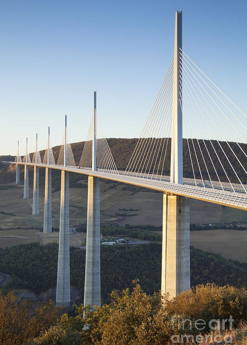 Bridge Greeting Card featuring the photograph Millau Viaduct At Sunrise Midi-pyrenees France by Colin and Linda McKie
