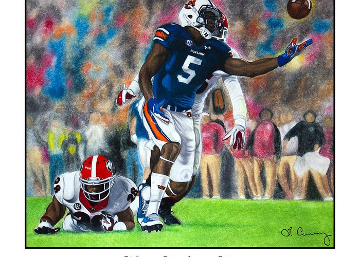 Auburn Greeting Card featuring the painting Miracle At Jordan-hare by Lance Curry