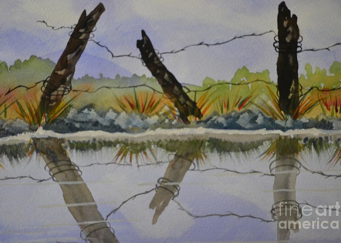 Beach Greeting Card featuring the painting Misty Watercolors by Cecilia Stevens