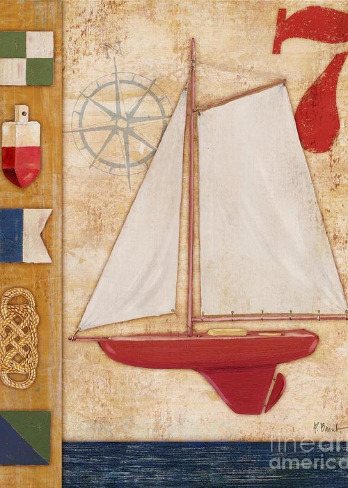 Red Greeting Card featuring the painting Model Yacht Collage II by Paul Brent