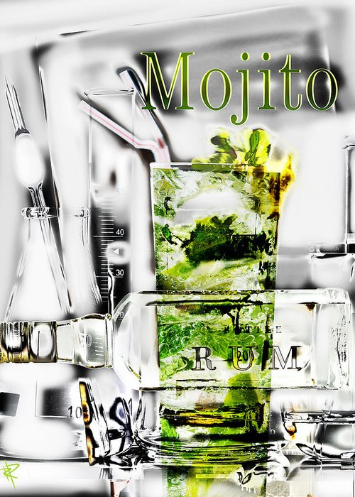 Mojito Greeting Card featuring the mixed media Mojito by Russell Pierce