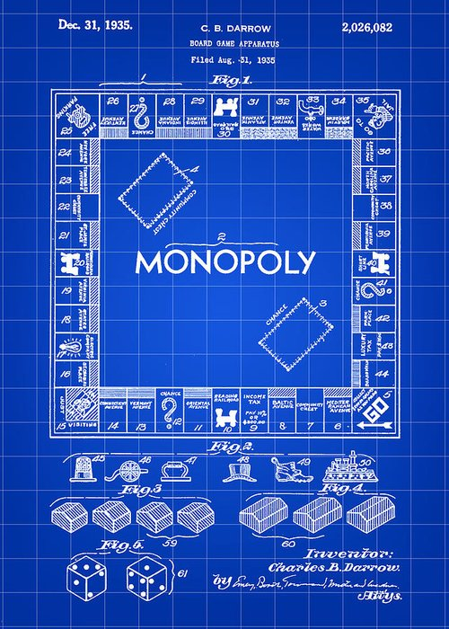 Monopoly Greeting Card featuring the digital art Monopoly Patent 1935 - Blue by Stephen Younts