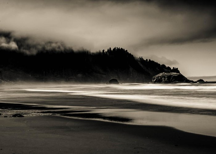 Oregon Coast Greeting Card featuring the photograph Moody Oregon Beach by Paul Haist