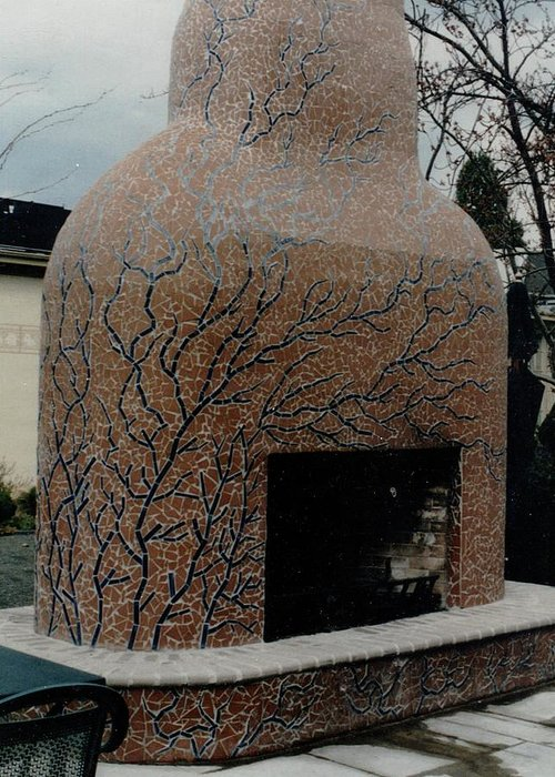 Mosaic Fireplace Greeting Card featuring the ceramic art Mosaic Fireplace by Charles Lucas