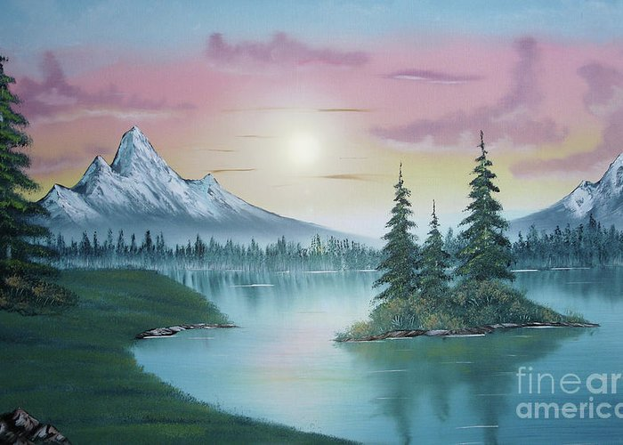 Mountain Lake Painting A La Bob Ross 1 Greeting Card For Sale By